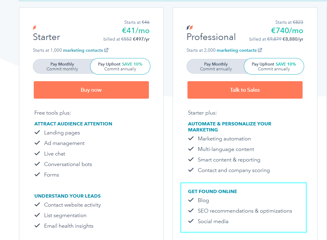 HubSpot Starter and Professional Plan Options