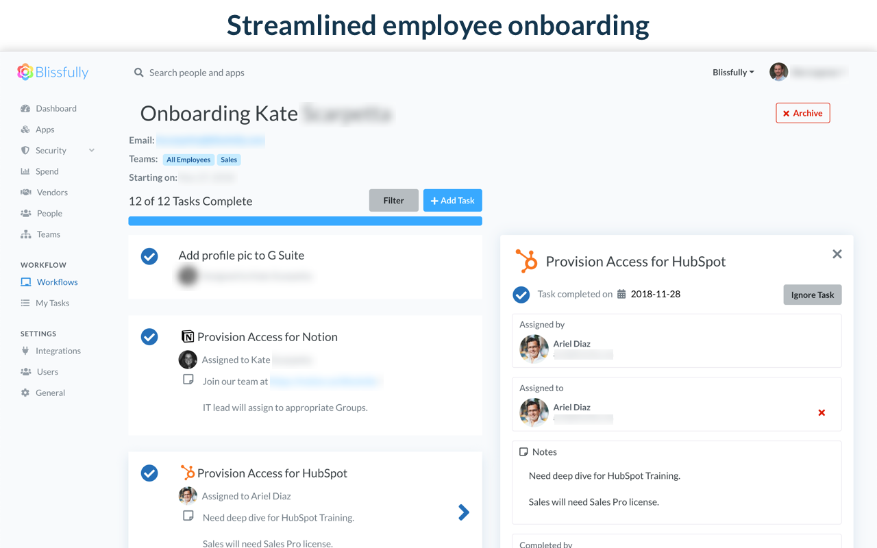 Onboarding and Offboarding Workflows - SaaS Management Tool