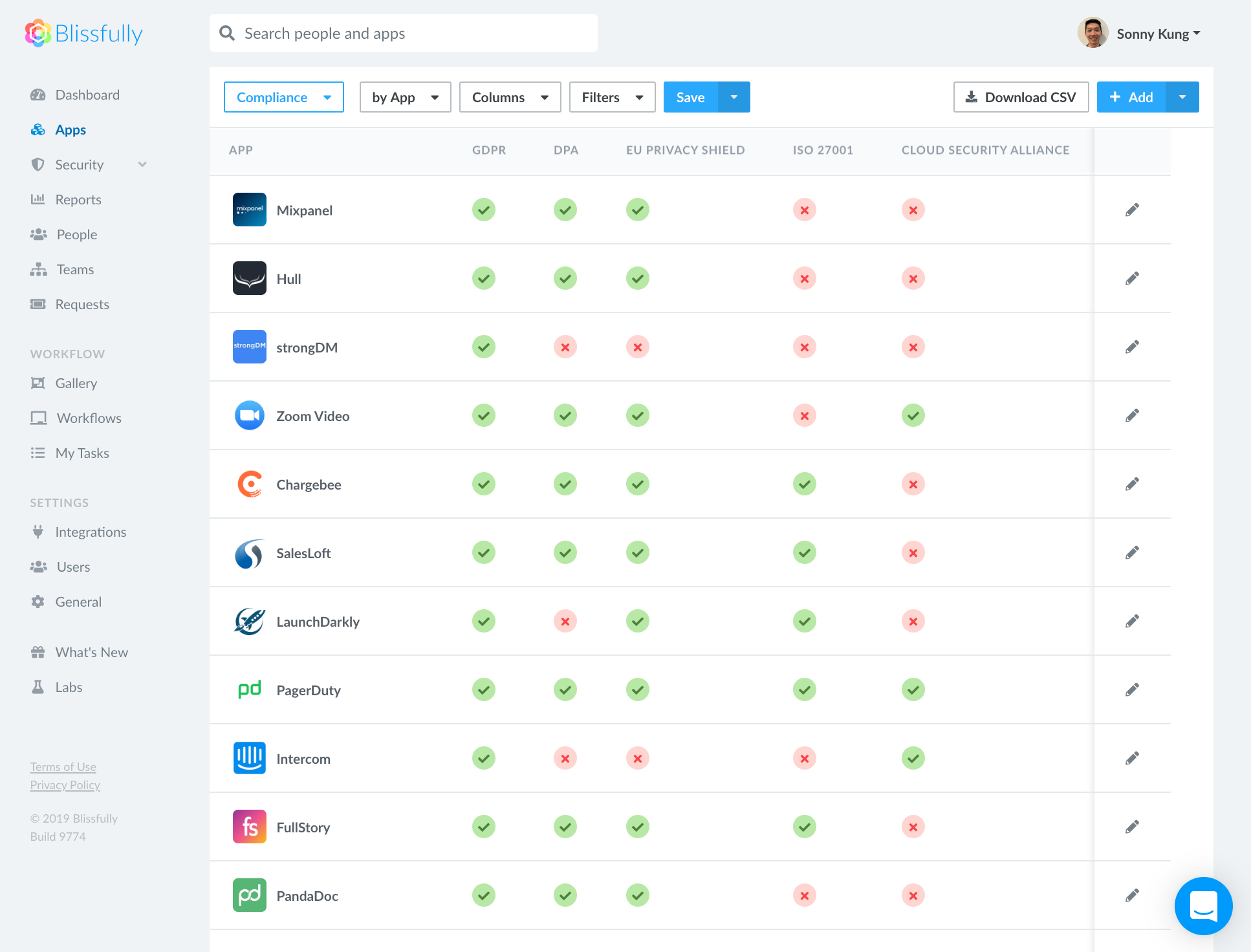 Apps Page Compliance