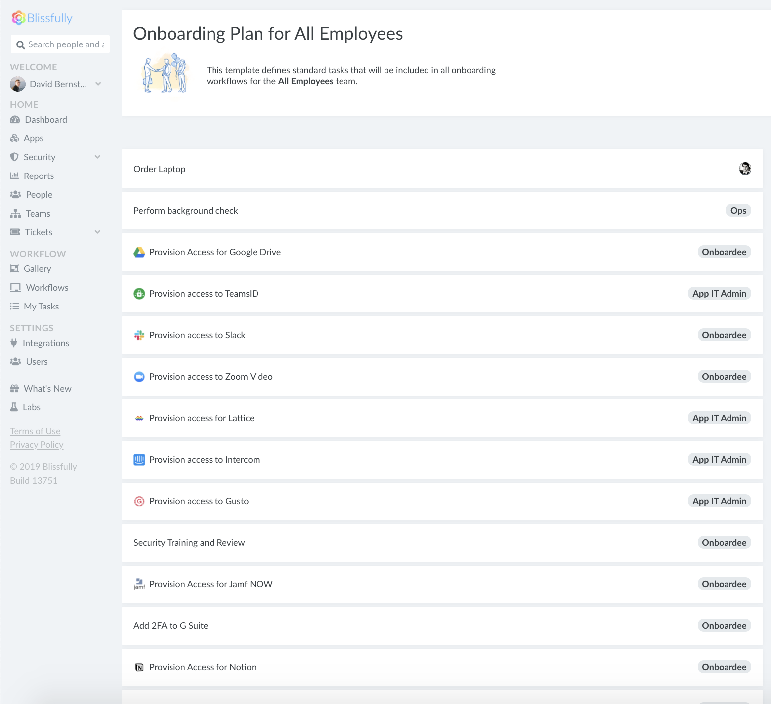 onboarding tasks screenshot